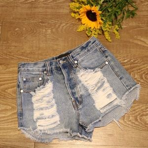 MINKPINK High Waisted Jean Shorts